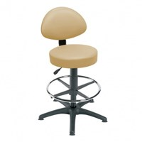 STOOL (SUNFLOWER) WITH BACK REST, FOOT RING AND GLIDERS (Podiatry)