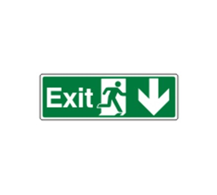 SIGN - EXIT DOWN SELF ADHESIVE VINYL 30 X 10CM WHITE ON GREEN