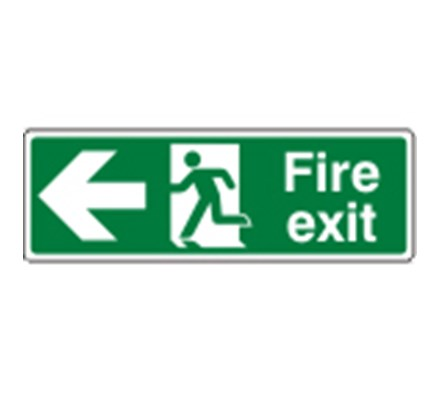 SIGN - FIRE EXIT LEFT SELF ADHESIVE VINYL 30 X 10CM WHITE ON GREEN