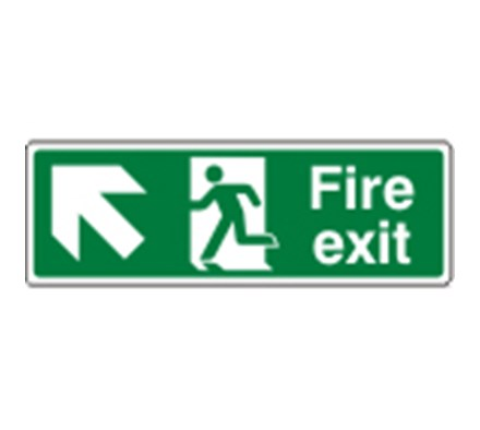 SIGN - FIRE EXIT UP LEFT SELF ADHESIVE VINYL 30 X 10CM WHITE ON GREEN