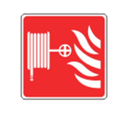 SIGN - FIRE HOSE POINT SELF ADHESIVE VINYL 10 X 10CM WHITE ON RED
