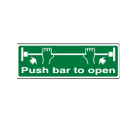 SIGN - PUSH BAR TO OPEN SELF ADHESIVE VINYL 45 X 15CM WHITE ON GREEN