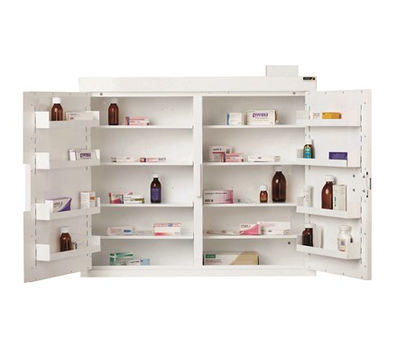 CABINET CONTROLLED DRUGS (2 DOOR) 96X100X30CM (8 SHELVES) WITH WARNING LIGHT