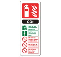SIGN - EXTINGUISHER CO2 SELF ADHESIVE VINYL 20 X 7.5CM RED AND GREEN ON WHITE