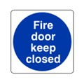 SIGN - FIRE DOOR KEEP CLOSED SELF ADHESIVE VINYL 10 X 10CM BLUE ON WHITE