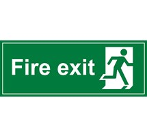 SIGN - FIRE EXIT RIGID PLASTIC 30 X 15CM WHITE ON GREEN