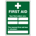 SIGN - NEAREST FIRST AIDER &  BOX SELF ADHESIVE VINYL 30 X 40CM WHITE ON GREEN
