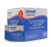 CLINELL WIPES SKIN 2% CHLORHEXIDINE X 200